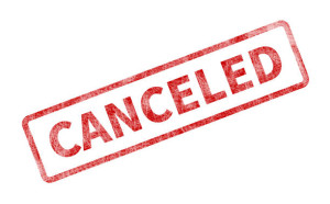 Canceled Stamp - Red Grunge Seal. Rubber stamp isolated on white background.